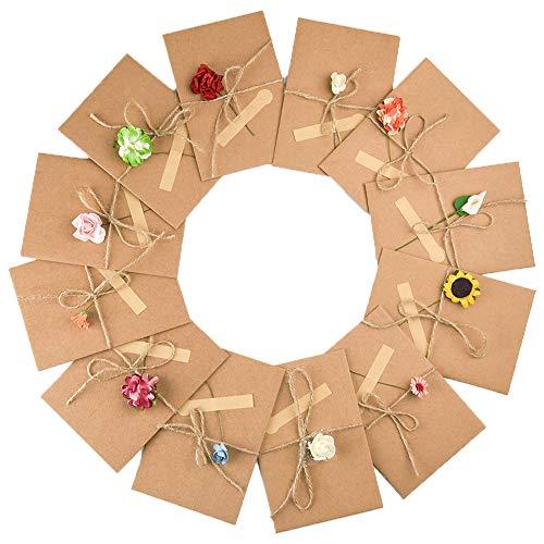Fepito 12 Stück weihnachtskarten DIY Handgemachte Retro Kraftpapier Danke Karten Set Grußkarten mit 12 Handgemachten Blumen und Aufklebern fur Valentinstag Danksagung Geburtstag Weihnachten