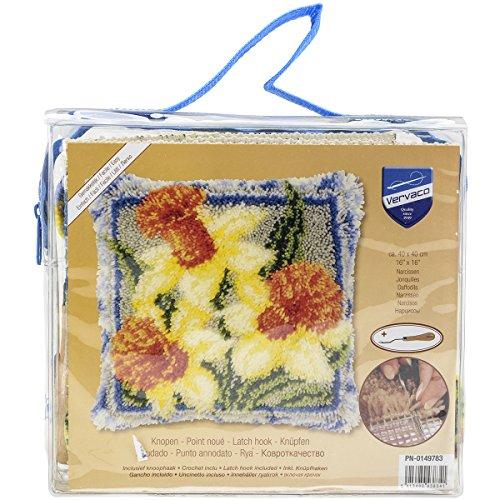 Vervaco Knüpfkissen Narzissen Knüpfpackung, Baumwolle, Mehrfarbig, 40 x 40 x 1 cm