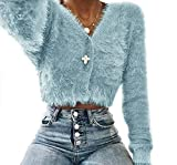 Eineukleid Herbst Winter Damen Kurz Pulli mit Knöpfe Mode Langarm Oberteile Mohair Sweater Cardigan Mäntel Bluse Casual Einfarbig Strickpullover Tops Strickjacke Outerwear