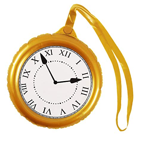 German Trendseller® Aufblasbare - Goldene - Deluxe - Uhr ┃ XXL ┃ Alice ┃ Wir haben Doch Keine Zeit ┃ Jumbo Uhr Wunderland