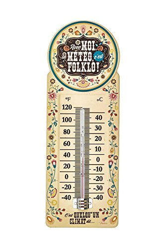 Natives 611850 Folklo Thermometer Metall Mehrfarbig 10,5 x 10,5 x 30 cm