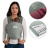 Fular portabebés de Laneli, 100% algodón ecológico, para recién nacidos de hasta 15kg, fabricación europea, transpirable, sin elastano artificial, color verde