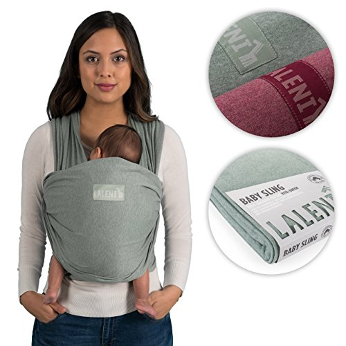 Babytragetuch | Babytrage | 100% Bio-Baumwolle | Tragetuch | Für Neugeborene Bis 15kg | Aus Europäischer Herstellung | Atmungsaktiv | Ohne Künstliches Elastan | Von Laleni (Grün)