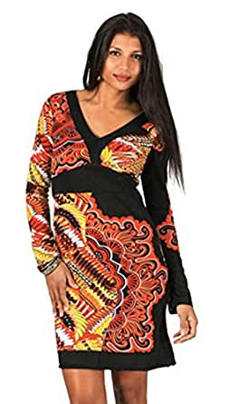 #666 Aller Simplement Damen Kleid Patchwork Etuikleid langarm Longshirt Winter Tunika Schwarz (S/36)