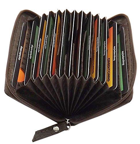 Porta carte di credito in pelle di bue 13 tasche in 2 diversi colori (Marrone)