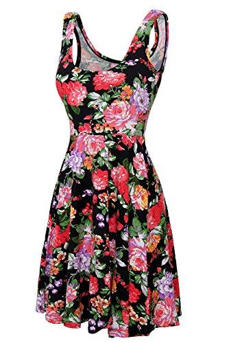 DJT Damen Vintage Sommerkleid Traeger mit Flatterndem Rock Blumenmuster Schwarz L