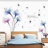 Tophappy Wall Stickers Fiore Grandi Orchidea Cameretta Salotto Camera Bambini Adesivo Murale Removibile Impermeabile Adesivo da Parete Famiglia Arte Murale Home Decor