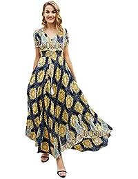 1ccb4d5b4ab Robe Maxi pour Femmes À Courtes Col Chic Rond Manches Vêtements de fête V  Boho Robe D Été À Fleurs Robe Longue Vintage Casual…