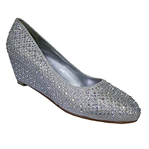 Womens silver glitter diamante low mid wedge heel wedding prom
