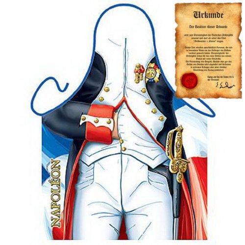 Preisvergleich Produktbild Grillschürze mit Urkunde - Napoleon - Lustige Motiv Schürze als Geschenk für Grill Fans mit Humor - NEU mit gratis Zertifikat