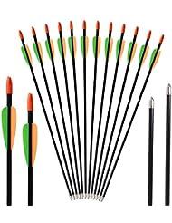 """Huntingdoor 12x28 """"Frecce in vetroresina con frecce in vetroresina Frecce da 7 mm per arco ricurvo"""