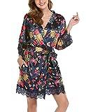 BeautyUU Damen Satin Kimono Nachthemd Morgenmantel Kurze Schlafanzüge mit Blumen und Spitzen Bademantel XXL-S