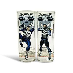 Set de verres Marvel Punisher 2 shots, verres avec logo, accessoire pour super-héros, 10 cm