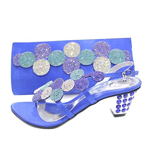 W & W femmes Mesdames cristal Diamante Mariée Mariage Chaussures et sac assorti Taille (mizra & par) Bleu roi