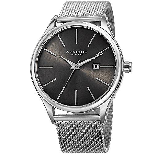 Akribos XXIV - Reloj de pulsera para hombre, diseño clásico y casual, redondo, acero inoxidable, diseño de malla