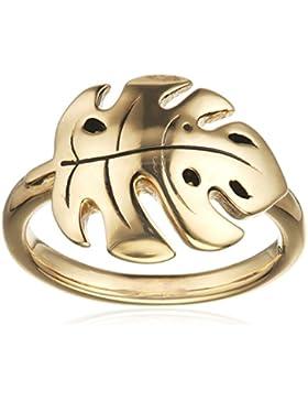 caï women Damen Ring Blatt 925 Sterling Silber gelb vergoldet und schwarz lackiert