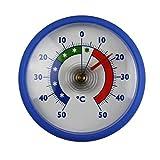 Rundes Bimetall Analog Klebe Kühlschrankthermometer . Kühlschrank Thermometer Temperatur Anzeige + / - 50 °C . Farbe blau