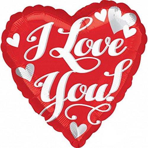 Anagram - palloncino a forma di cuore con scritta i love you (46 cm) (rosso/bianco)