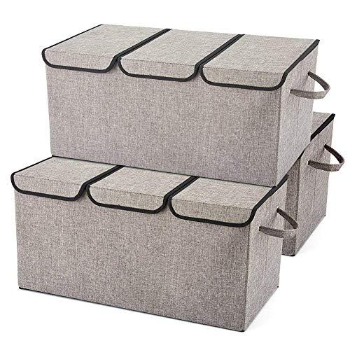 EZOWare 3-Pack Aufbewahrungsbox mit Deckel, Cube Aufbewahrungskorb Ordnungsystem Stauraum Boxen Körbe Kisten (Grau) – 61 x 30.5cm