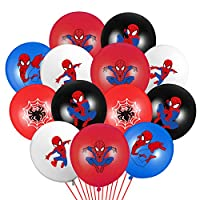 PANTIDE 50 Packs Spiderman Birthday Balloons, 12Inch Blue Red Black Latex Balloons Bouquet with Ribbons, Avengers Superhero Party Favors Decorations Supplies for Kids Boys Birthday Party Baby Shower