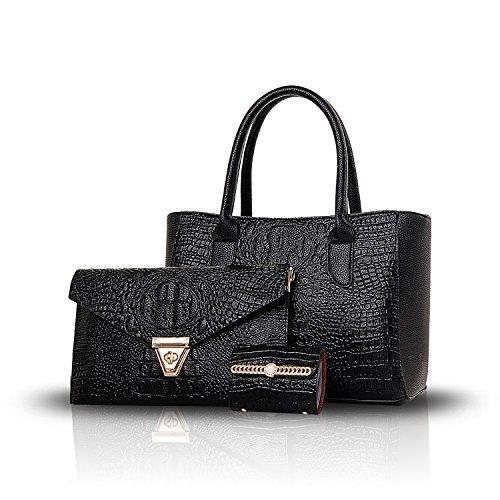Sunas Il modello del coccodrillo di modo del sacchetto delle 2017 nuove donne ha rilievo 3 insiemi di borsa femminile + sacchetto del messaggero del sacchetto del sacchetto + della spalla nero