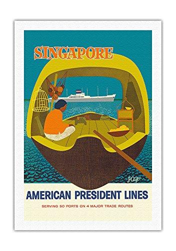 Pacifica Island Art - Singapur - American President Lines, USA Schiffahrts-Gesellschaft - Retro Kreuzfahrtschifffahrts Plakat von John Russell Clift c.1958 - Leinwand Kunstdruck - 69 x 102 cm -