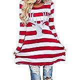 TWIFER Damen Weihnachts Elch Langarm Kleid Rundkragen Streifen Minikleid