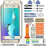 ACENIX® Ersatzdisplay Glas Linse Reparatur Kit Gold für Samsung Galaxy S6 Edge Plus + UV-Kleber und Öffnungswerkzeug