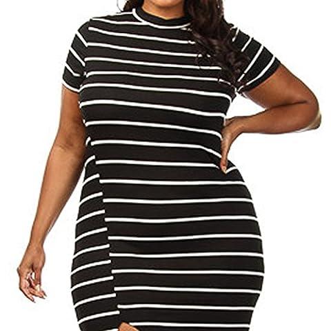 meinice Plus Blanc Taille Noir à rayures haute fente Maxi robe - noir - M