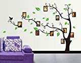 Oren Empower Decorative Brown Tree With Photo Frames PVC Vinyl Large Wall Sticker , (170(w) x 120(h) cm)