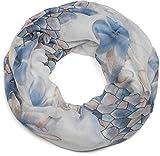 styleBREAKER Loop Schal mit Blumen, Blüten und Waben Muster Print, Schlauchschal, Tuch, Damen 01016160, Farbe:Blau-Weiß
