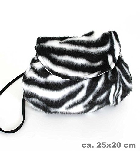 Fries 45705 Plüschtasche Zebra 25 x 20 cm Fasching Karneval Accessoires Tasche