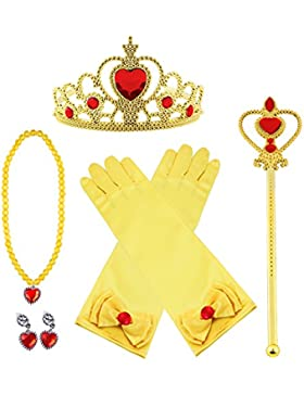 [Patrocinado]Vicloon Princesa Vestir Accesorios 5 Pcs Regalo Conjunto de belleza corona Sceptre Collar Pendientes Guantes para...