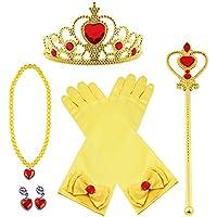 Vicloon Princesa Vestir Accesorios 5 Pcs Regalo Conjunto de belleza corona Sceptre Collar Pendientes Guantes para Niña