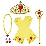 Vicloon Princesse Dress Up Accessoires Filles Diadème Varita Magie Collier Boucles d'oreilles Gants pour Cosplay Carnaval Fête Party d'anniversaire- 3-8 Ans (Jaune)