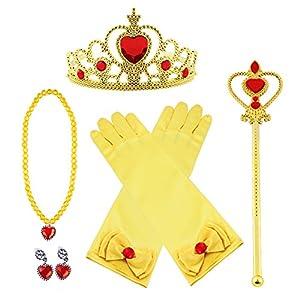 Vicloon La Principessa si Veste i Guanti Degli Orecchini Della Collana Della Scatola di Bellezza Della Corona del Regalo 5pcs per la Ragazza