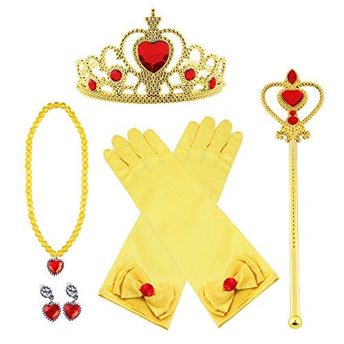 Bonwish Vicloon Costumi da Principessa Set, Corona, Diadema, Guanti, Bacchetta Magica e Collana 3-9 Anni