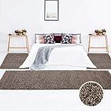 carpet city Teppich Shaggy Hochflor Langflor Einfarbig Mocca Öko Tex Bettumrandung 2X 80x150 & 1x 80x300