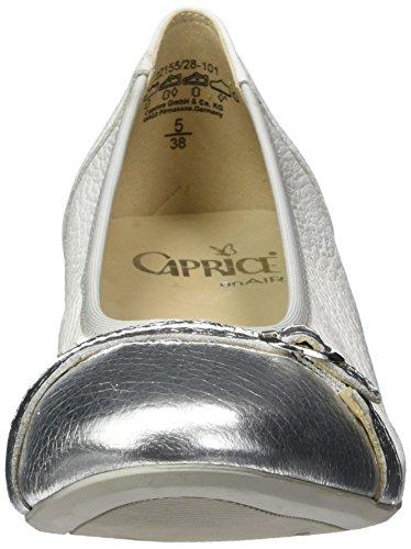 Caprice Damen 22155 Geschlossene Ballerinas Weiß (WHT/SIL DEER M)