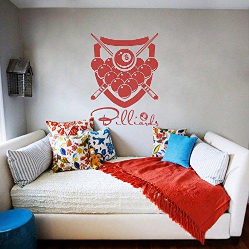 Billiard Wandtattoo Billiard Room Sticker Sport-Wand-Dekor Spielzimmer Spielzimmer Art (Large,Tomato Red)