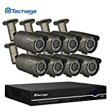 techage 8 CH 48 V PoE NVR HD 1080P DVR CCTV Système 2.8–12 mm 2.0 MP Objectif Varifocal PoE IP IR Outdoor Video Security Caméra de surveillance Kit, sans disque dur