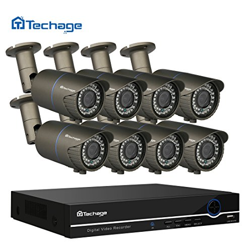 Preisvergleich Produktbild Techage 8CH 48V POE NVR DVR HD 1080P CCTV System 2.8-12mm 2.0MP Varifocal Objektiv POE IP Kamera IR Outdoor Video Security Überwachungs-Kit,  ohne Festplatte