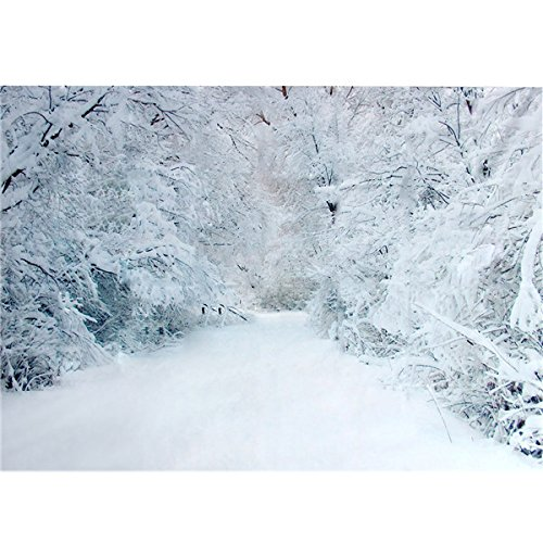 2.1 x 1.5m Xmas Heavy Snow Trees Road Vinyl Photography Studio Backdrop Background