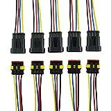 IMAGINE 10 tlg 4 poliger Stecker Steckverbinder Wasserdicht Schnellverbinder IP67 AMP PA66 Nylon Steckdose Set mit Draht (Yellow 4 Pin with Wire 18AWG)