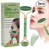 Jade Roller Massagegerät,Jade Roller und Gua Sha Set,Gesicht abnehmen und bewegen Massagegerät Werkzeug Gesichtsmassage Körperhaltung, Körperhaltung, Rücken, Körperhaut 2PCS