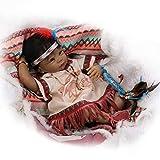 MMYJ 55 cm Silikon Wiedergeborenes Babypuppe Spielzeuge Indianer der Ureinwohner Schwarze Haut Im Babys Neugeborenes Mädchen Geburtstagsgeschenk Sammlerstücke Puppe,B