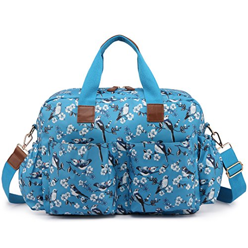 Miss Lulu 4 Pz Bird Flower Pattern Pannolino Per Il Bambino Fasciatoio Set Borsa Grande Borsa A Tracolla Tenda L1501-16j / Blu