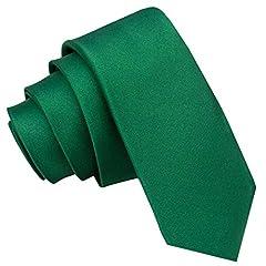 Idea Regalo - DQT Premium Satin Plain Uomo Magro 5cm Cravatta Verde Smeraldo