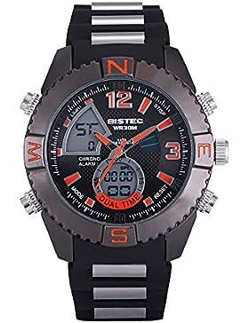 Bistec Herren Uhren Casual LED Digital Edelstahl Big Bang Style Armbanduhr Multifunktions Wasserdicht (Schwarz-Rot)