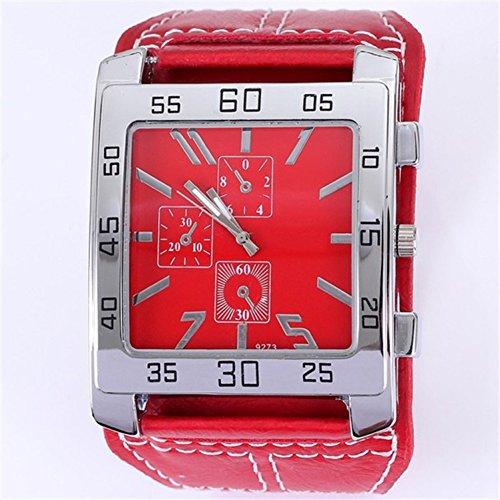 BLUEUK Dekorative Quadratische Drei Augen Uhren Leder Frauen Armbanduhr Herren Unisex Gürtel Uhr Mode Accessoire Herrenmode Damen, rot